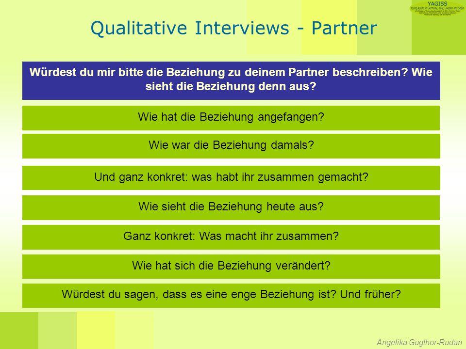 Angelika Guglhör-Rudan Qualitative Interviews - Partner Würdest du mir bitte die Beziehung zu deinem Partner beschreiben.