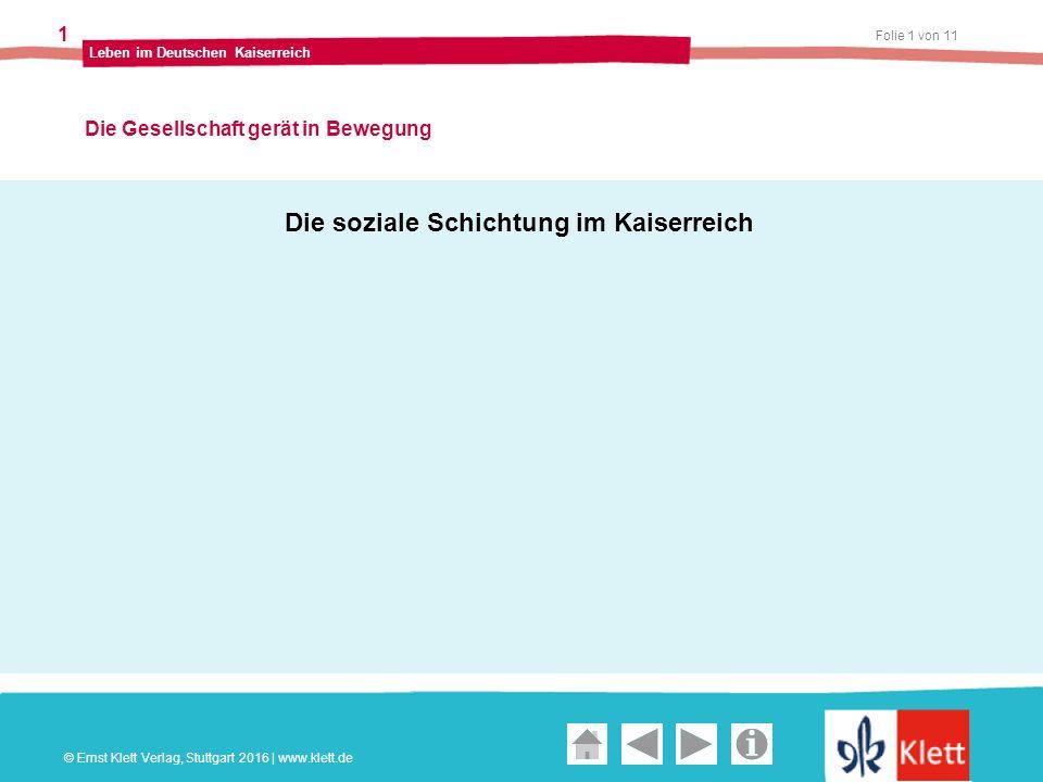 Geschichte und Geschehen Oberstufe Folie 1 von 11 Leben im Deutschen Kaiserreich 1 Die Gesellschaft gerät in Bewegung © Ernst Klett Verlag, Stuttgart 2016 | www.klett.de Die soziale Schichtung im Kaiserreich