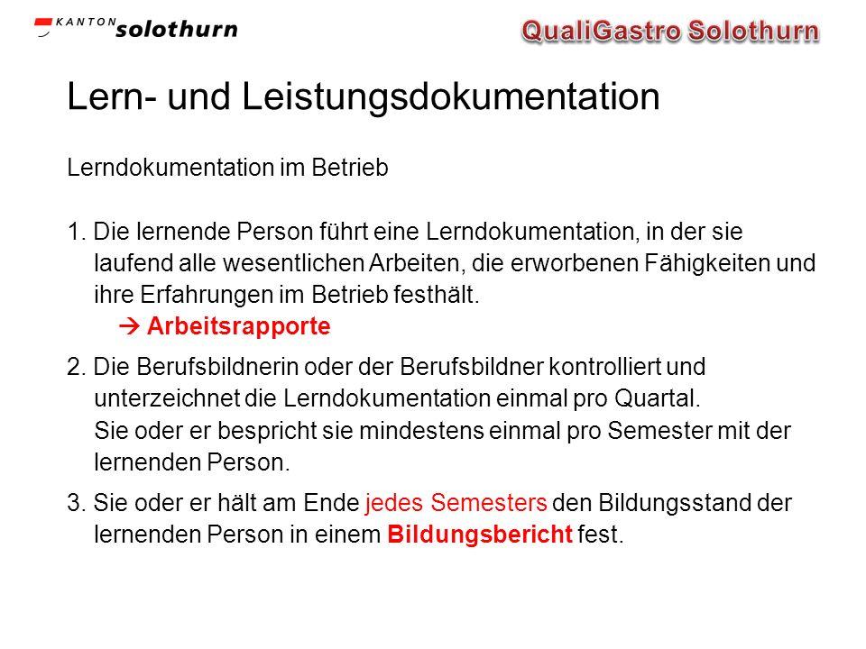 Lern- und Leistungsdokumentation Lerndokumentation im Betrieb 1.