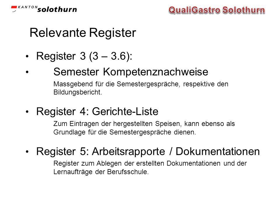 Relevante Register Register 3 (3 – 3.6): Semester Kompetenznachweise Massgebend für die Semestergespräche, respektive den Bildungsbericht. Register 4: