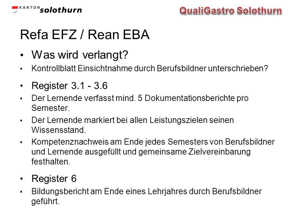 Refa EFZ / Rean EBA Was wird verlangt? Kontrollblatt Einsichtnahme durch Berufsbildner unterschrieben? Register 3.1 - 3.6 Der Lernende verfasst mind.