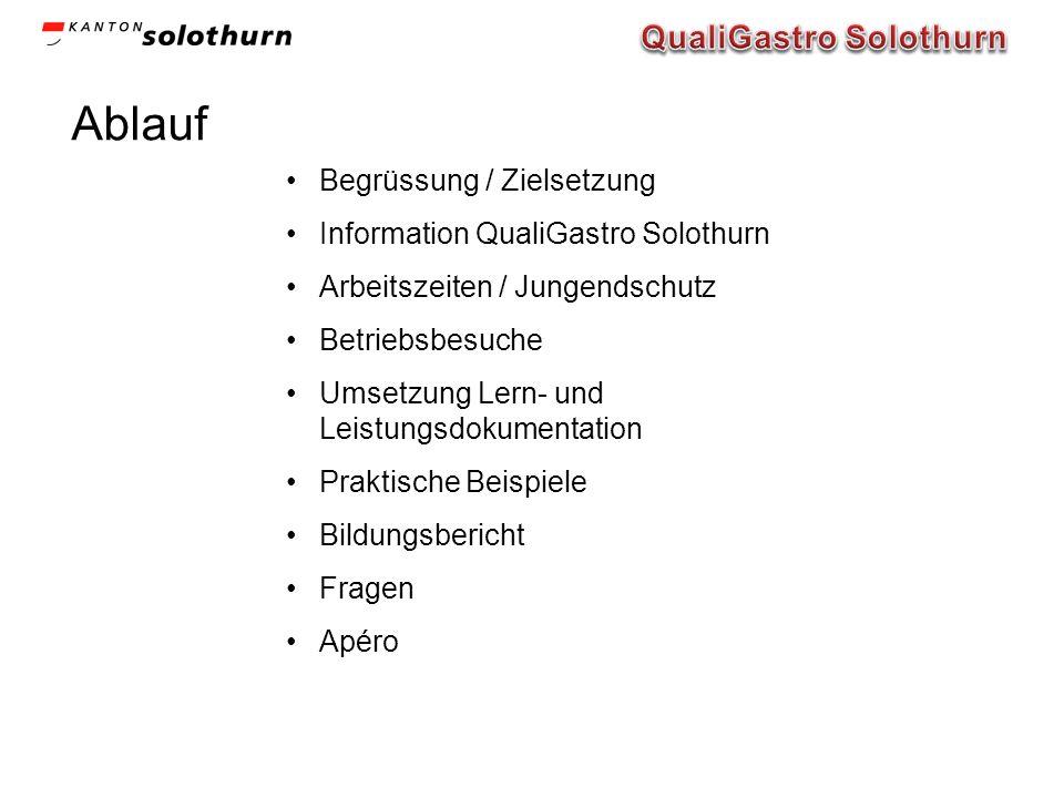 Ablauf Begrüssung / Zielsetzung Information QualiGastro Solothurn Arbeitszeiten / Jungendschutz Betriebsbesuche Umsetzung Lern- und Leistungsdokumenta