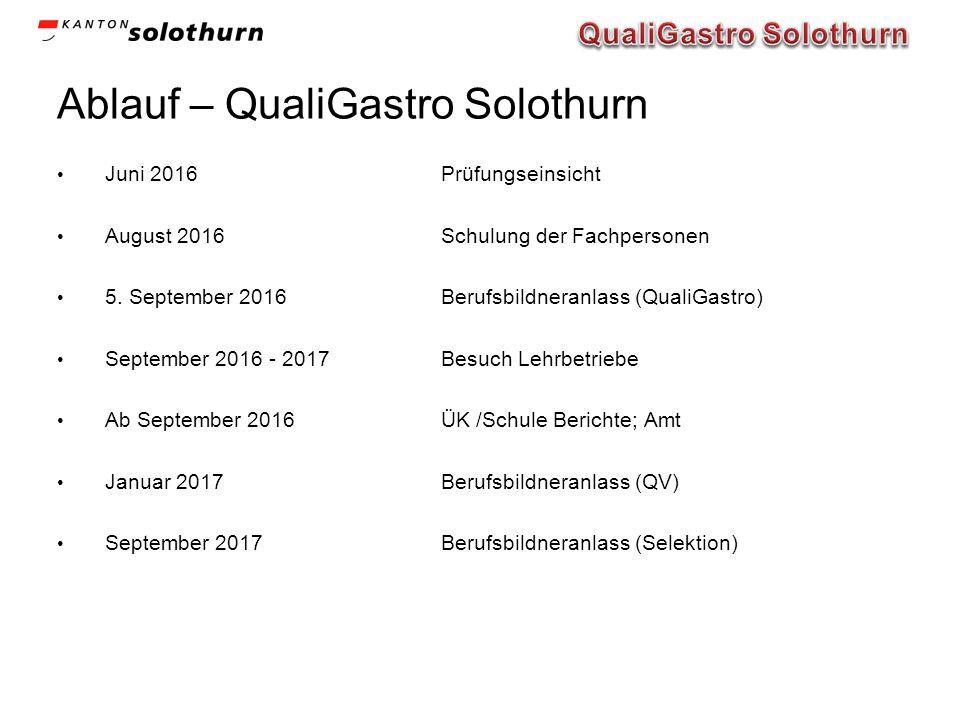 Ablauf – QualiGastro Solothurn Juni 2016Prüfungseinsicht August 2016Schulung der Fachpersonen 5. September 2016Berufsbildneranlass (QualiGastro) Septe