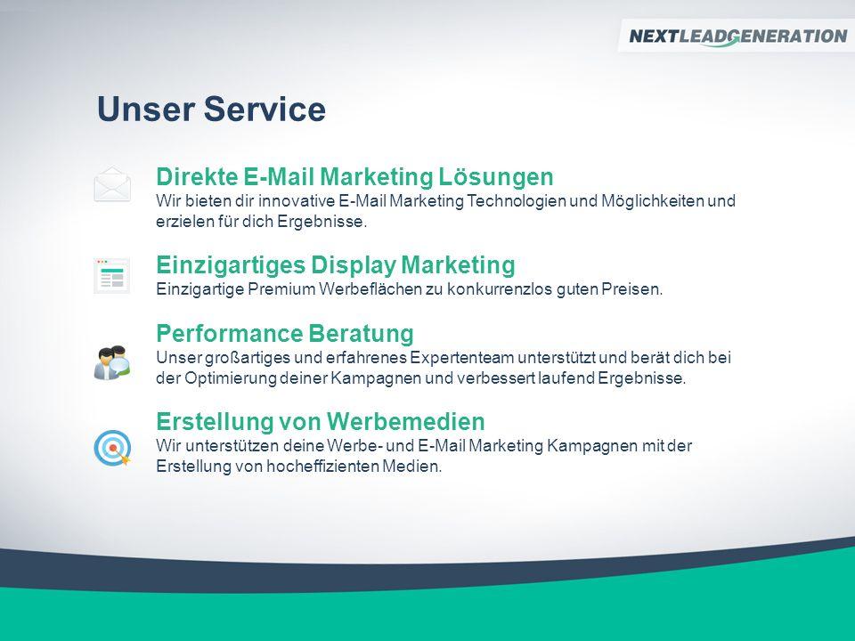 Unser Service Direkte E-Mail Marketing Lösungen Wir bieten dir innovative E-Mail Marketing Technologien und Möglichkeiten und erzielen für dich Ergebnisse.