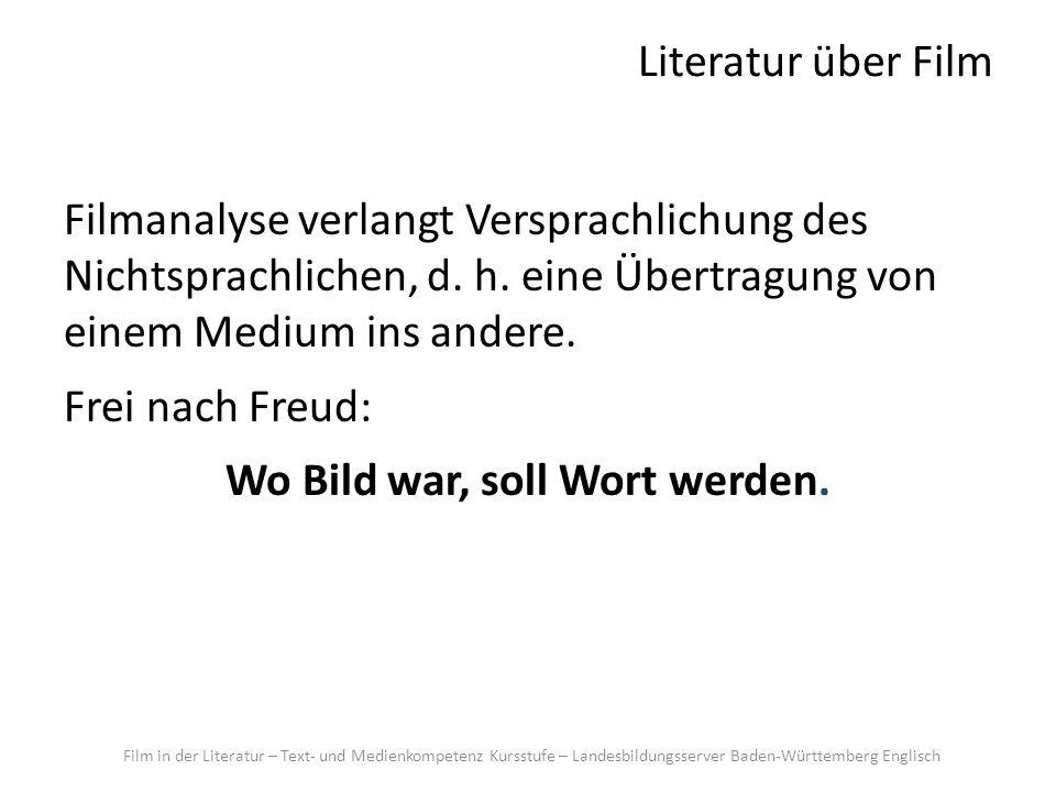 Literatur über Film Filmanalyse verlangt Versprachlichung des Nichtsprachlichen, d. h. eine Übertragung von einem Medium ins andere. Frei nach Freud: