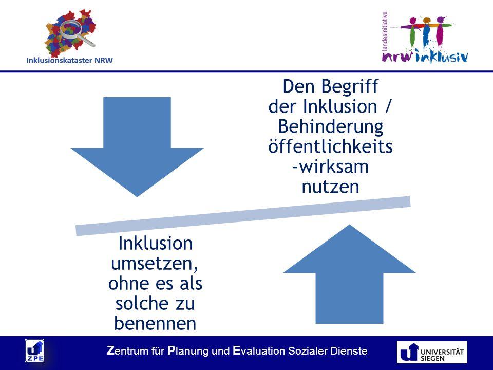 Z entrum für P lanung und E valuation Sozialer Dienste Den Begriff der Inklusion / Behinderung öffentlichkeits -wirksam nutzen Inklusion umsetzen, ohne es als solche zu benennen