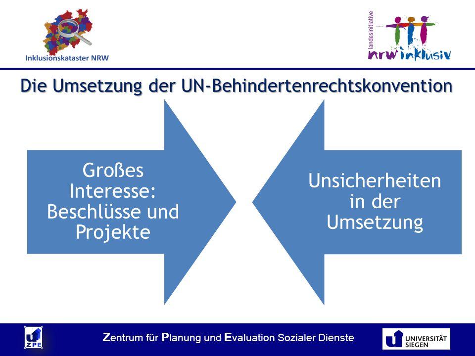 Die Umsetzung der UN-Behindertenrechtskonvention Großes Interesse: Beschlüsse und Projekte Unsicherheiten in der Umsetzung