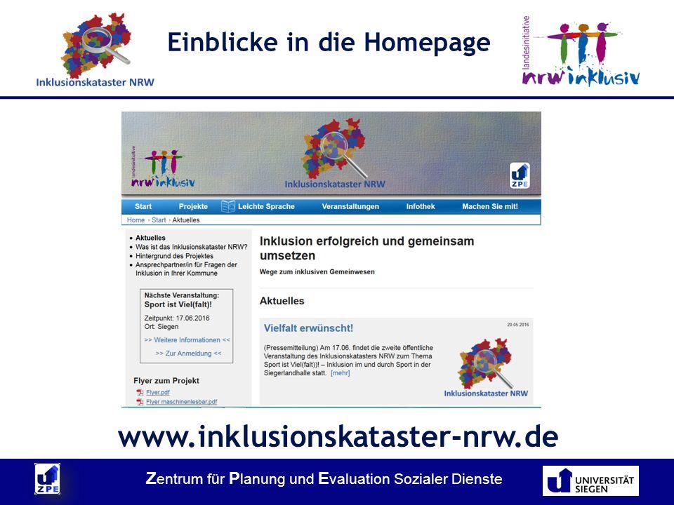 Z entrum für P lanung und E valuation Sozialer Dienste Einblicke in die Homepage www.inklusionskataster-nrw.de