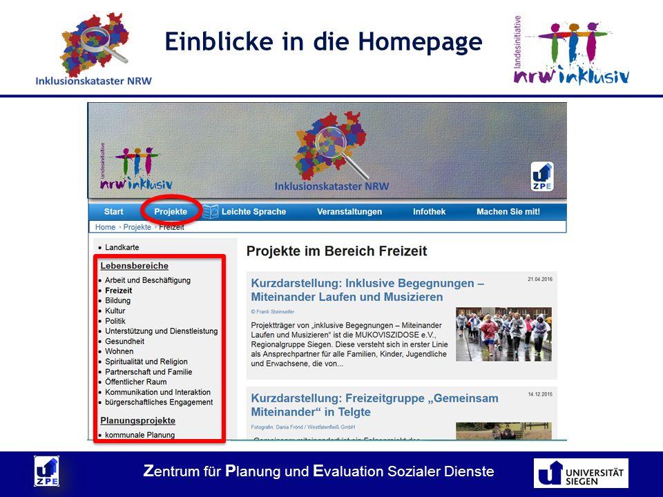 Z entrum für P lanung und E valuation Sozialer Dienste Einblicke in die Homepage