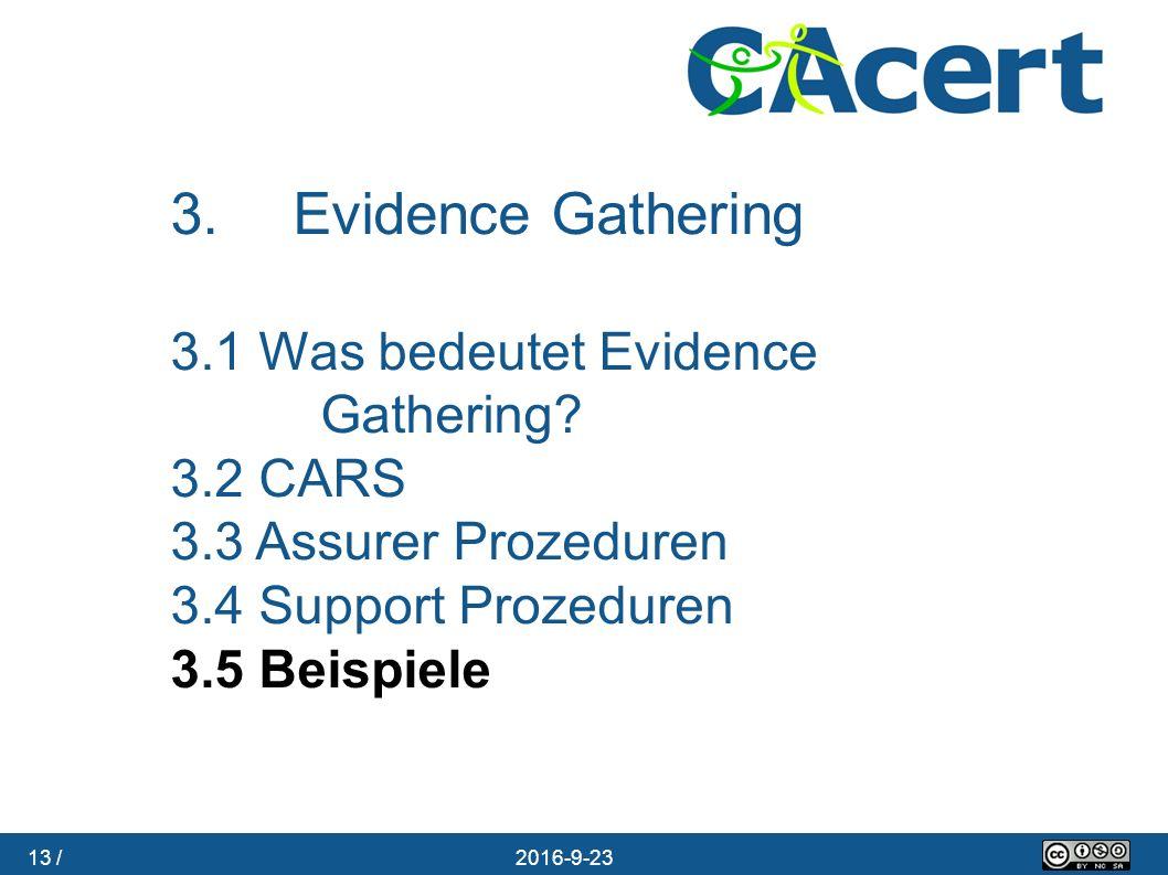 13 / 23.09.2016 3. Evidence Gathering 3.1 Was bedeutet Evidence Gathering? 3.2 CARS 3.3 Assurer Prozeduren 3.4 Support Prozeduren 3.5 Beispiele