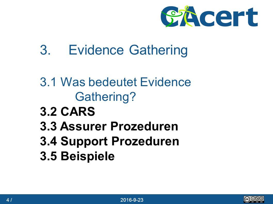 4 / 23.09.2016 3. Evidence Gathering 3.1 Was bedeutet Evidence Gathering? 3.2 CARS 3.3 Assurer Prozeduren 3.4 Support Prozeduren 3.5 Beispiele
