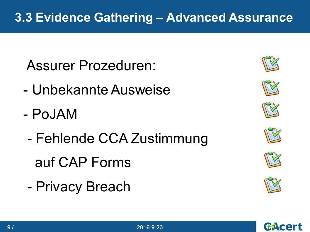 23.09.2016 9 / 3.3 Evidence Gathering – Advanced Assurance Assurer Prozeduren: - Unbekannte Ausweise - PoJAM - Fehlende CCA Zustimmung auf CAP Forms -