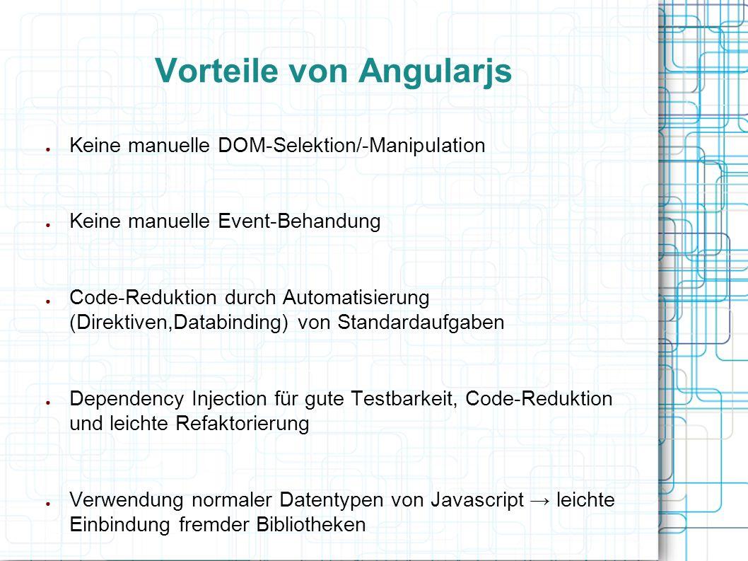 Vorteile von Angularjs ● Keine manuelle DOM-Selektion/-Manipulation ● Keine manuelle Event-Behandung ● Code-Reduktion durch Automatisierung (Direktive