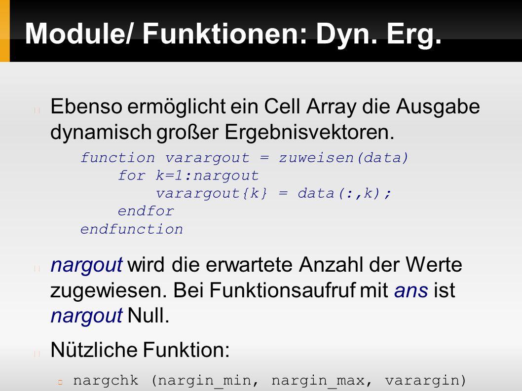 Module/ Funktionen: Dyn.Erg.