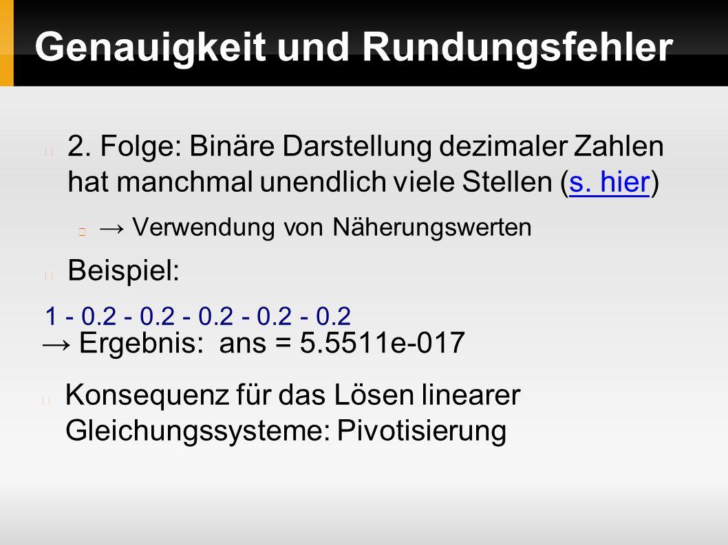 Genauigkeit und Rundungsfehler 2.