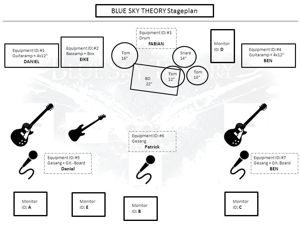 "Tom 10"" Tom 12"" Tom 16"" BD 22"" Monitor ID: D Monitor ID: A Monitor ID: B Monitor ID: C Equipment ID: #1 Guitaramp + 4x12"" DANIEL Equipment ID: #2 Bass"