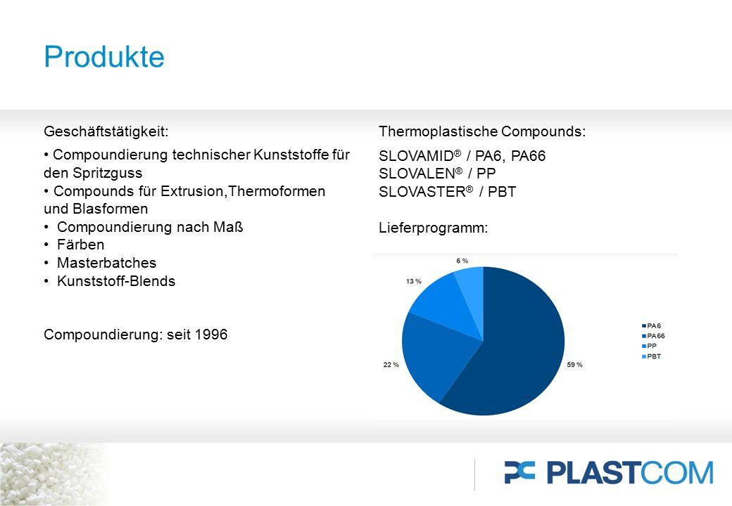 Produkte Geschäftstätigkeit: Compoundierung technischer Kunststoffe für den Spritzguss Compounds für Extrusion,Thermoformen und Blasformen Compoundier