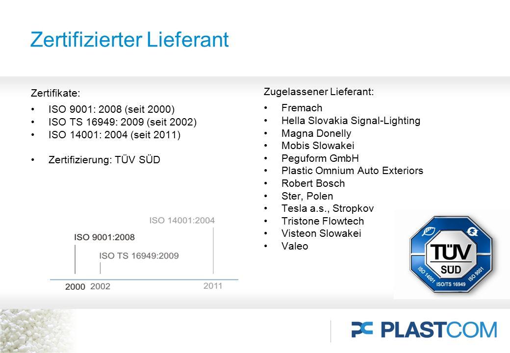 Zertifizierter Lieferant Zertifikate: ISO 9001: 2008 (seit 2000) ISO TS 16949: 2009 (seit 2002) ISO 14001: 2004 (seit 2011) Zertifizierung: TÜV SÜD Zu