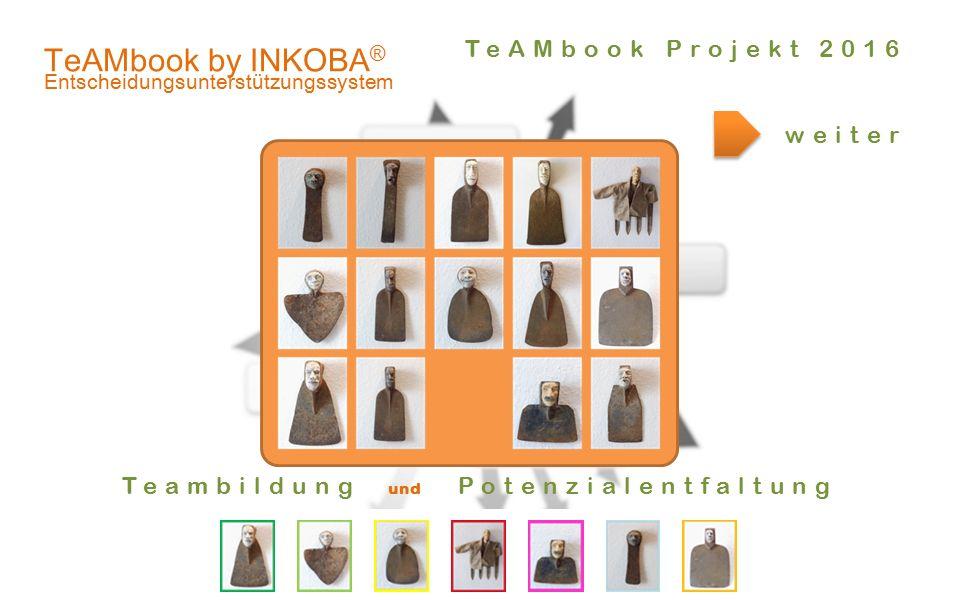 .er! TeAMbook by INKOBA ® Entscheidungsunterstützungssystem weiter Teambildung und Potenzialentfaltung TeAMbook Projekt 2016