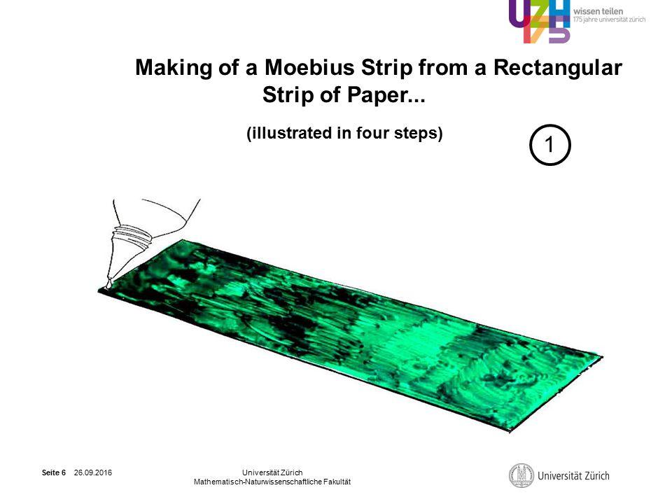 26.09.2016Universität Zürich Mathematisch-Naturwissenschaftliche Fakultät Seite 6 Making of a Moebius Strip from a Rectangular Strip of Paper...