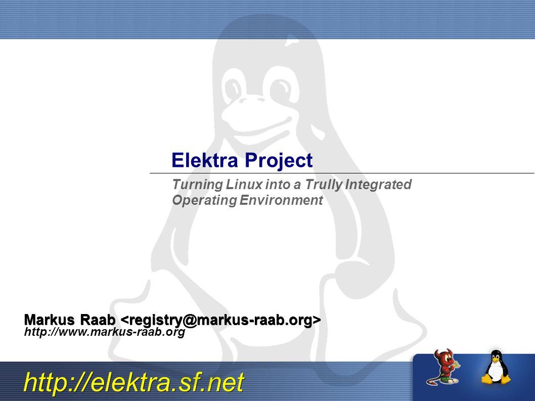 http://elektra.sf.net Zukunft, Vergangenheit und Gegenw art In welche Richtung entwickelt sich der Desktop.