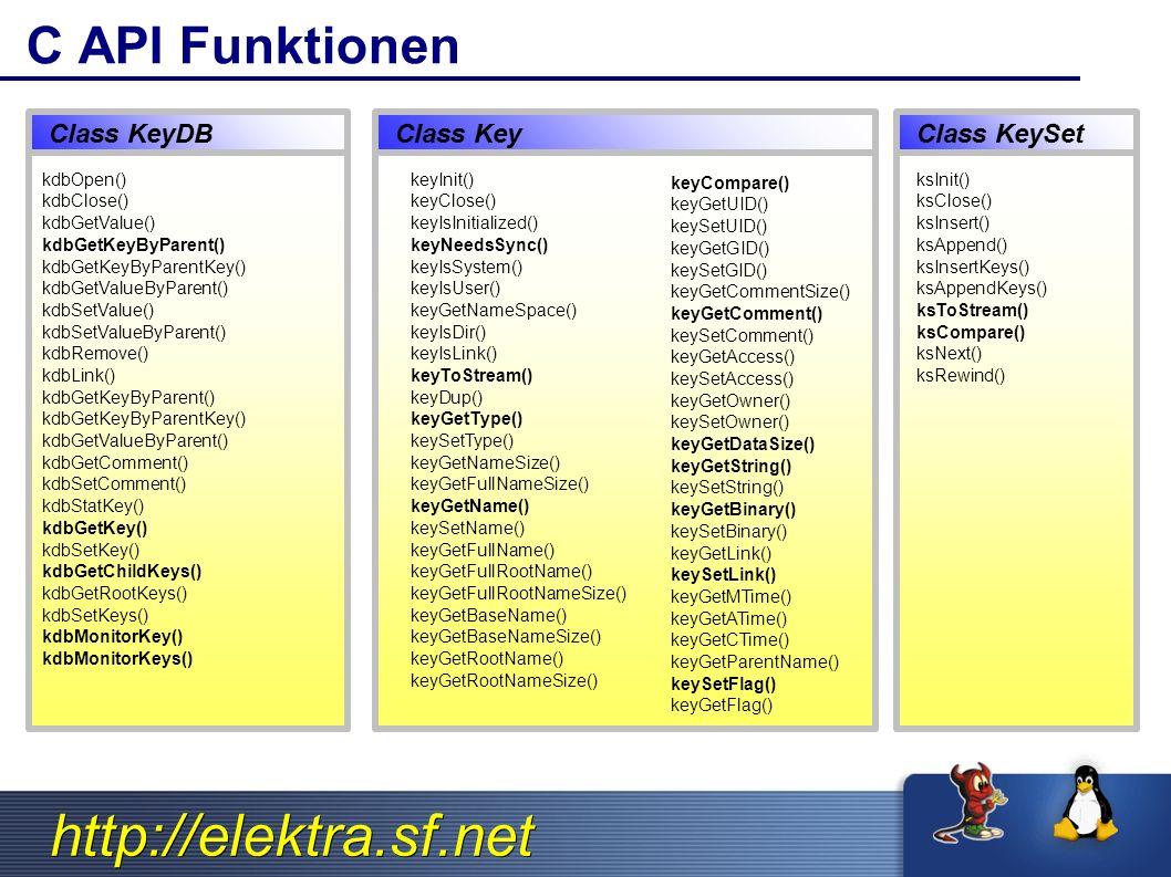 http://elektra.sf.net C API Funktionen ksInit() ksClose() ksInsert() ksAppend() ksInsertKeys() ksAppendKeys() ksToStream() ksCompare() ksNext() ksRewind() keyInit() keyClose() keyIsInitialized() keyNeedsSync() keyIsSystem() keyIsUser() keyGetNameSpace() keyIsDir() keyIsLink() keyToStream() keyDup() keyGetType() keySetType() keyGetNameSize() keyGetFullNameSize() keyGetName() keySetName() keyGetFullName() keyGetFullRootName() keyGetFullRootNameSize() keyGetBaseName() keyGetBaseNameSize() keyGetRootName() keyGetRootNameSize() keyCompare() keyGetUID() keySetUID() keyGetGID() keySetGID() keyGetCommentSize() keyGetComment() keySetComment() keyGetAccess() keySetAccess() keyGetOwner() keySetOwner() keyGetDataSize() keyGetString() keySetString() keyGetBinary() keySetBinary() keyGetLink() keySetLink() keyGetMTime() keyGetATime() keyGetCTime() keyGetParentName() keySetFlag() keyGetFlag() kdbOpen() kdbClose() kdbGetValue() kdbGetKeyByParent() kdbGetKeyByParentKey() kdbGetValueByParent() kdbSetValue() kdbSetValueByParent() kdbRemove() kdbLink() kdbGetKeyByParent() kdbGetKeyByParentKey() kdbGetValueByParent() kdbGetComment() kdbSetComment() kdbStatKey() kdbGetKey() kdbSetKey() kdbGetChildKeys() kdbGetRootKeys() kdbSetKeys() kdbMonitorKey() kdbMonitorKeys()