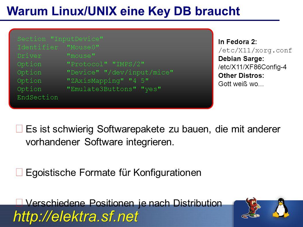 http://elektra.sf.net kdb Kommand: Perfekt für Skripte bash$ kdb get system/filesystems/boot/mpoint bash# kdb set system/sw/XFree/Screen/Display/Modes 1280x1024 bash$ kdb export system/sw/myapp > myapp.conf.xml bash# kdb import < myapp.conf.xml bash$ kdb edit -R user/sw/myapp bash$ kdb ls -Rv system/sw/myapp bash$ kdb monitor system/init/id/runlevel bash$ kdb rm user/env/alias/vnc bash$ kdb ln system/sw/myapp/key1 user/sw/myapp/key1 Vollständige man-pages verfügbar!