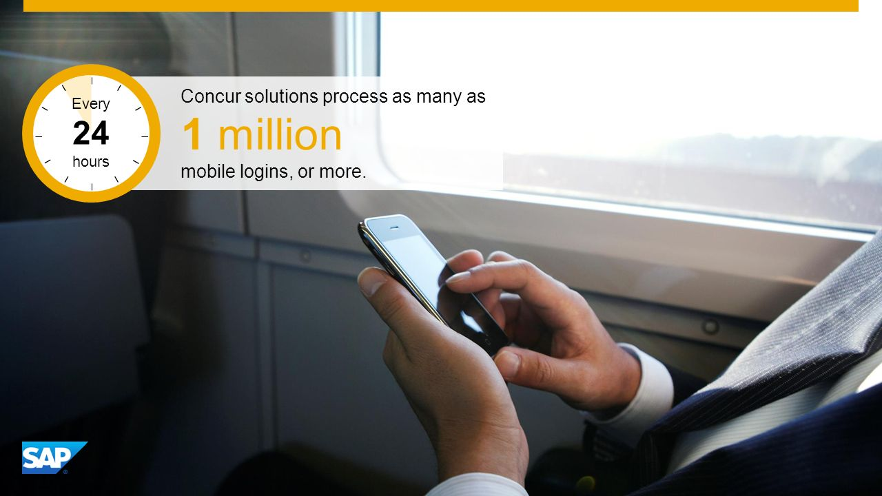 SAP Image ID # 274679 Concur solutions process as many as 1 million mobile logins, or more.