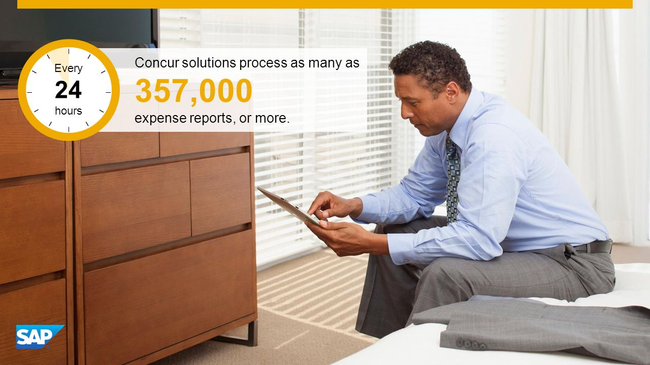 SAP Image ID # 274533 Concur solutions process as many as 357,000 expense reports, or more.