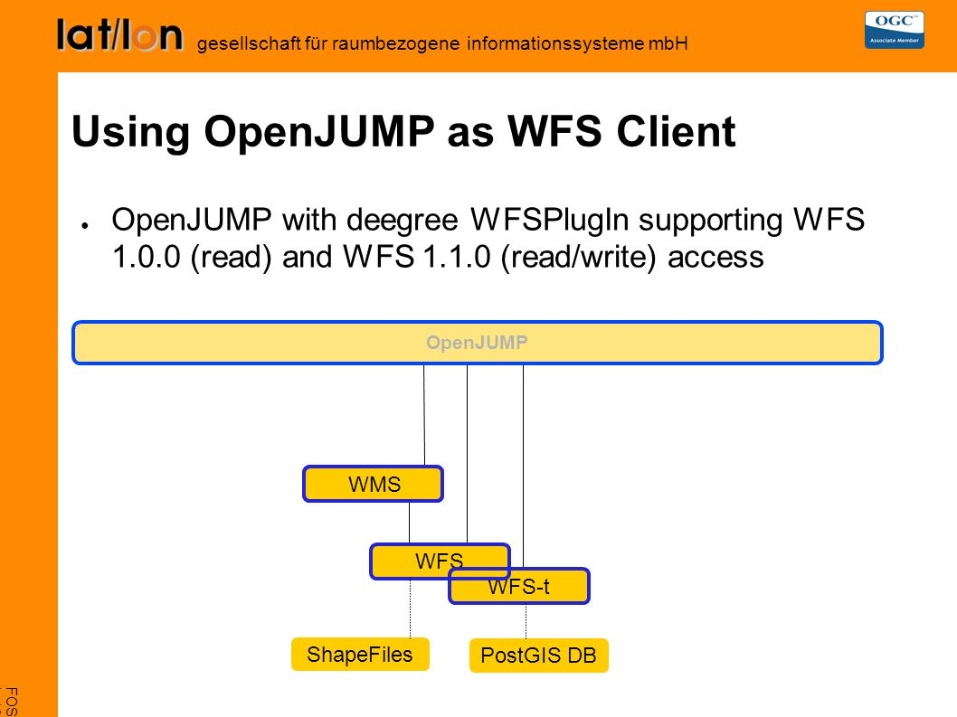 FOSS4G 2007, Victoria L-16 deegree iGeoSecurity gesellschaft für raumbezogene informationssysteme mbH Using OpenJUMP as WFS Client ● OpenJUMP with deegree WFSPlugIn supporting WFS 1.0.0 (read) and WFS 1.1.0 (read/write) access OpenJUMP WMS WFS WFS-t ShapeFiles WMS PostGIS DB