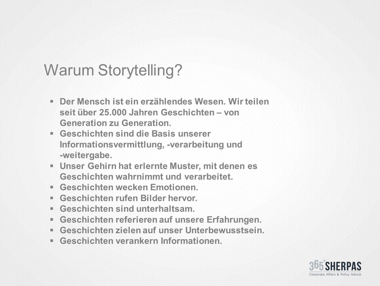 Warum Storytelling.  Der Mensch ist ein erzählendes Wesen.