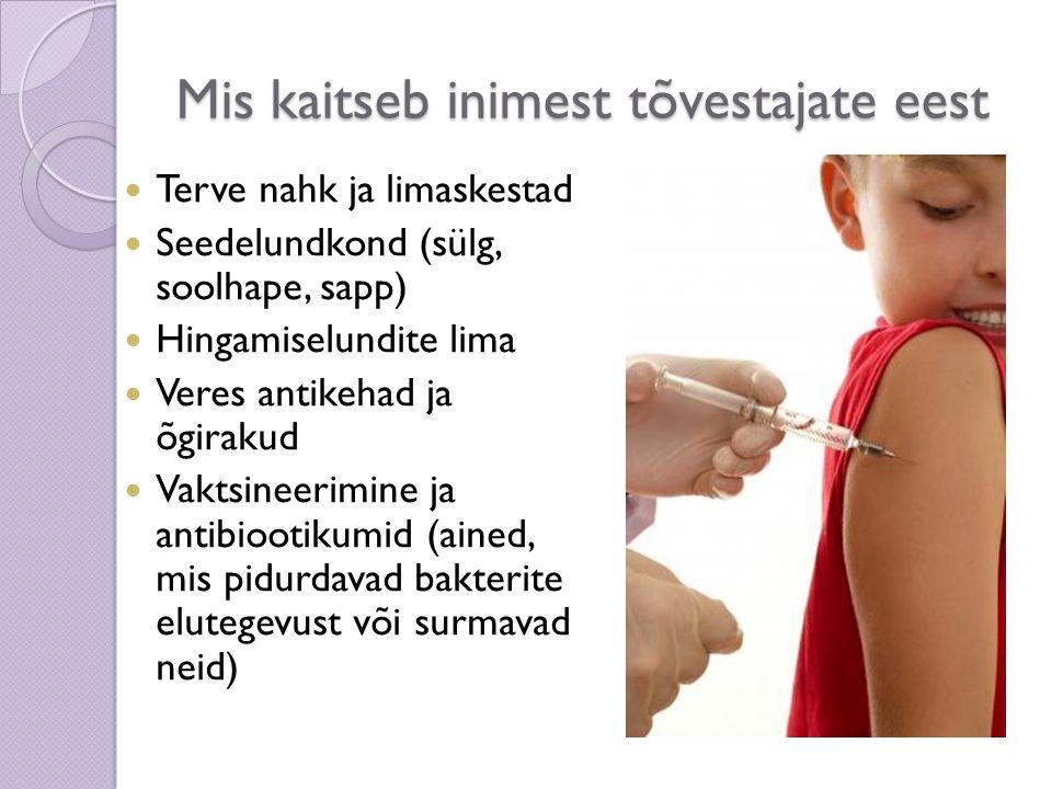 Mis kaitseb inimest tõvestajate eest Terve nahk ja limaskestad Seedelundkond (sülg, soolhape, sapp) Hingamiselundite lima Veres antikehad ja õgirakud