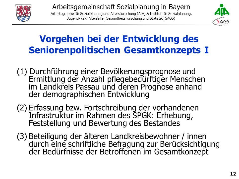12 Arbeitsgemeinschaft Sozialplanung in Bayern Arbeitsgruppe für Sozialplanung und Altersforschung (AfA) & Institut für Sozialplanung, Jugend- und Altenhilfe, Gesundheitsforschung und Statistik (SAGS) Vorgehen bei der Entwicklung des Seniorenpolitischen Gesamtkonzepts I (1) Durchführung einer Bevölkerungsprognose und Ermittlung der Anzahl pflegebedürftiger Menschen im Landkreis Passau und deren Prognose anhand der demographischen Entwicklung (2)Erfassung bzw.