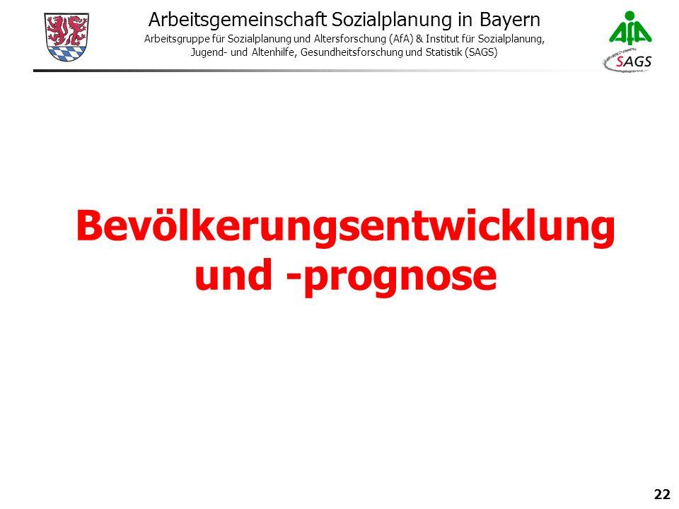 22 Arbeitsgemeinschaft Sozialplanung in Bayern Arbeitsgruppe für Sozialplanung und Altersforschung (AfA) & Institut für Sozialplanung, Jugend- und Altenhilfe, Gesundheitsforschung und Statistik (SAGS) Bevölkerungsentwicklung und -prognose