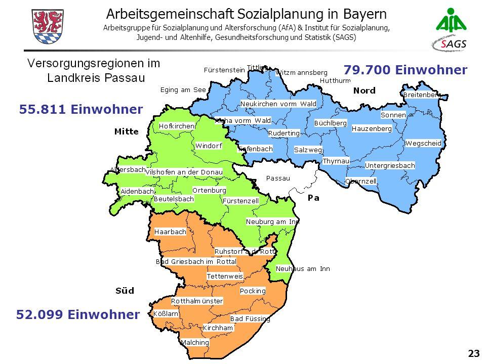 23 Arbeitsgemeinschaft Sozialplanung in Bayern Arbeitsgruppe für Sozialplanung und Altersforschung (AfA) & Institut für Sozialplanung, Jugend- und Altenhilfe, Gesundheitsforschung und Statistik (SAGS) 79.700 Einwohner 52.099 Einwohner 55.811 Einwohner