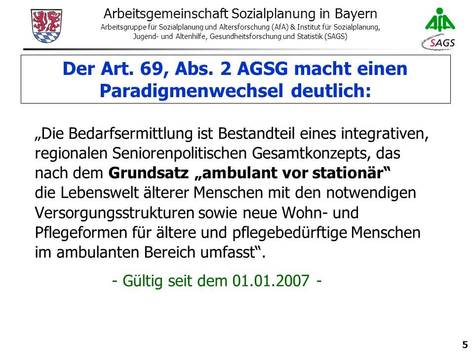 5 Arbeitsgemeinschaft Sozialplanung in Bayern Arbeitsgruppe für Sozialplanung und Altersforschung (AfA) & Institut für Sozialplanung, Jugend- und Altenhilfe, Gesundheitsforschung und Statistik (SAGS) Der Art.