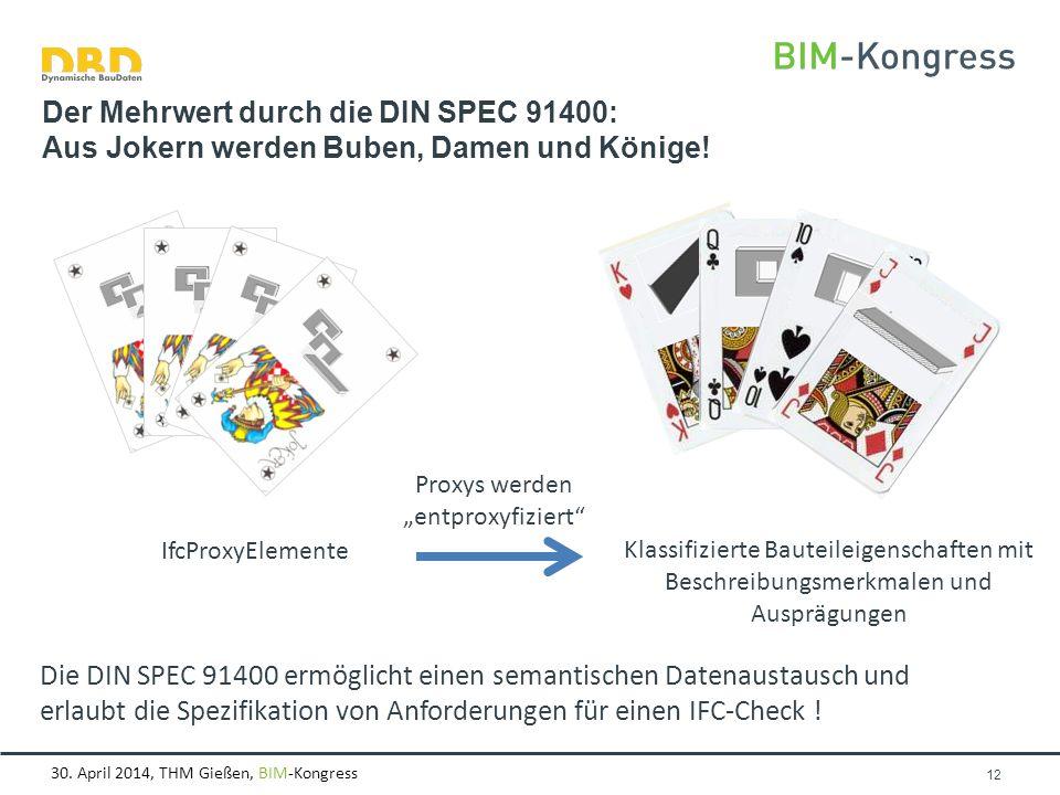 """30. April 2014, THM Gießen, BIM-Kongress Seite 12 Der Mehrwert durch die DIN SPEC 91400: Aus Jokern werden Buben, Damen und Könige! Proxys werden """"ent"""