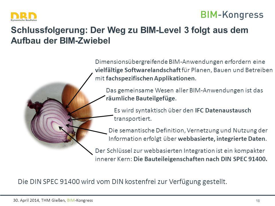 30. April 2014, THM Gießen, BIM-Kongress Seite 18 Schlussfolgerung: Der Weg zu BIM-Level 3 folgt aus dem Aufbau der BIM-Zwiebel Dimensionsübergreifend
