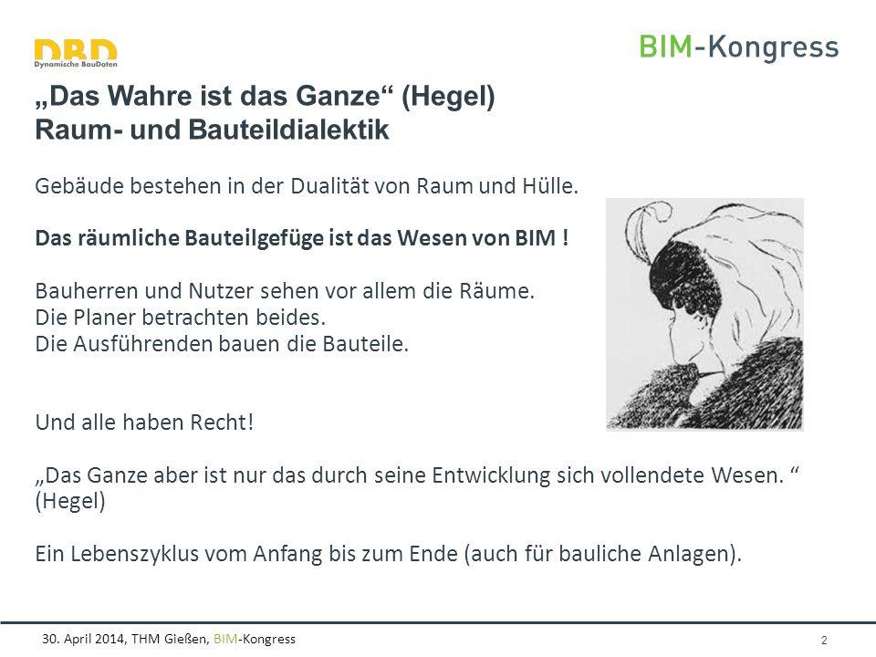 """30. April 2014, THM Gießen, BIM-Kongress """"Das Wahre ist das Ganze"""" (Hegel) Raum- und Bauteildialektik Gebäude bestehen in der Dualität von Raum und Hü"""