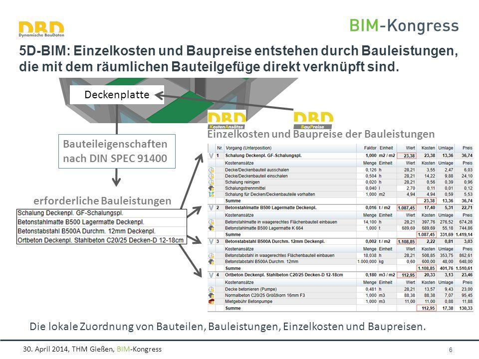 30. April 2014, THM Gießen, BIM-Kongress Seite 6 5D-BIM: Einzelkosten und Baupreise entstehen durch Bauleistungen, die mit dem räumlichen Bauteilgefüg