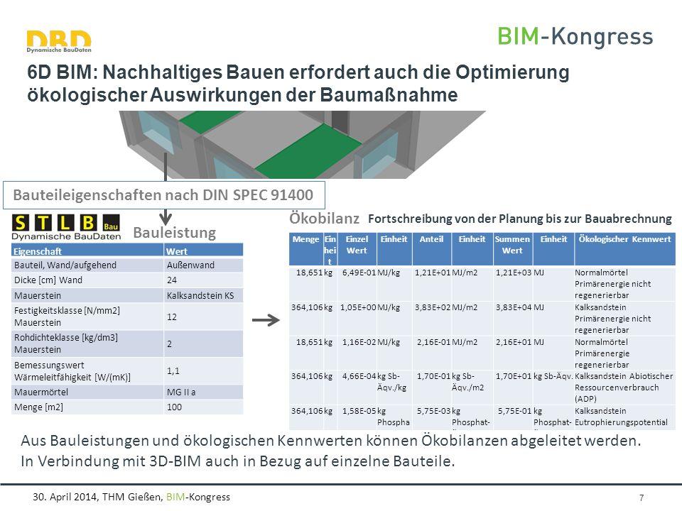 30. April 2014, THM Gießen, BIM-Kongress Seite 7 6D BIM: Nachhaltiges Bauen erfordert auch die Optimierung ökologischer Auswirkungen der Baumaßnahme B