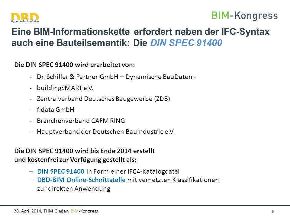 30. April 2014, THM Gießen, BIM-Kongress Seite 9 Eine BIM-Informationskette erfordert neben der IFC-Syntax auch eine Bauteilsemantik: Die DIN SPEC 914