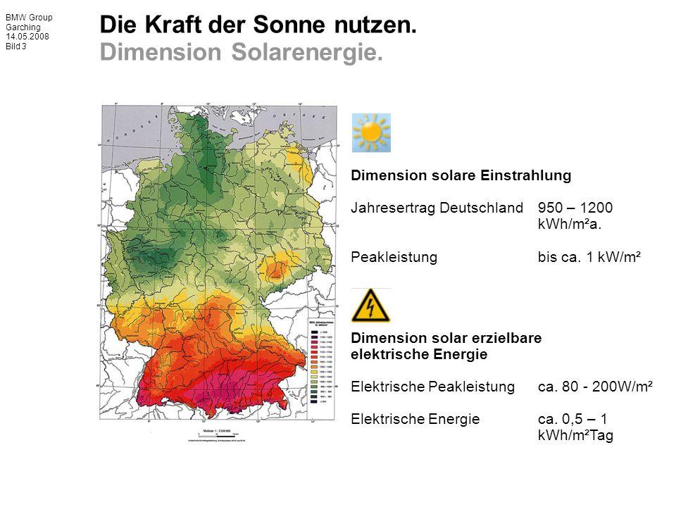 BMW Group Garching 14.05.2008 Bild 3 Dimension solare Einstrahlung Jahresertrag Deutschland 950 – 1200 kWh/m²a.