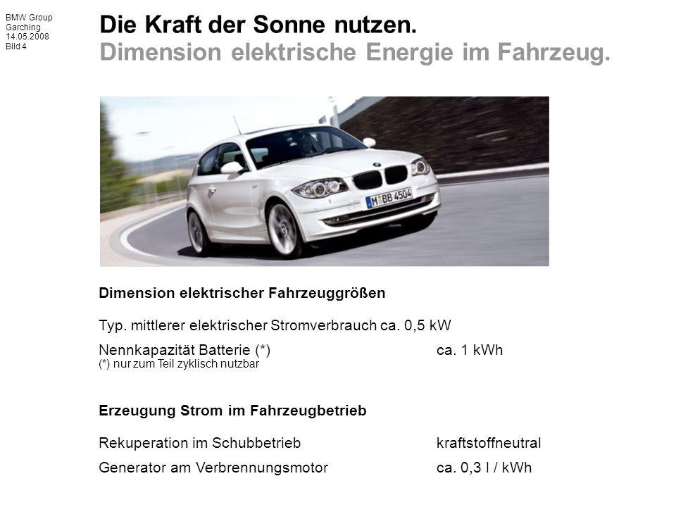 BMW Group Garching 14.05.2008 Bild 4 Dimension elektrischer Fahrzeuggrößen Typ.