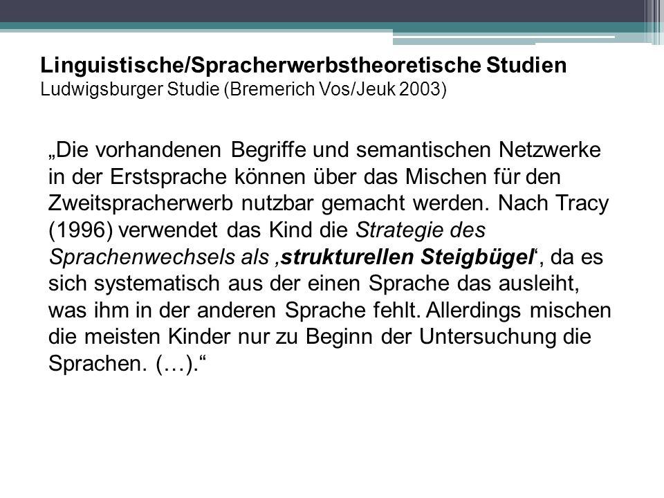 """Linguistische/Spracherwerbstheoretische Studien Ludwigsburger Studie (Bremerich Vos/Jeuk 2003) """"Die vorhandenen Begriffe und semantischen Netzwerke in"""