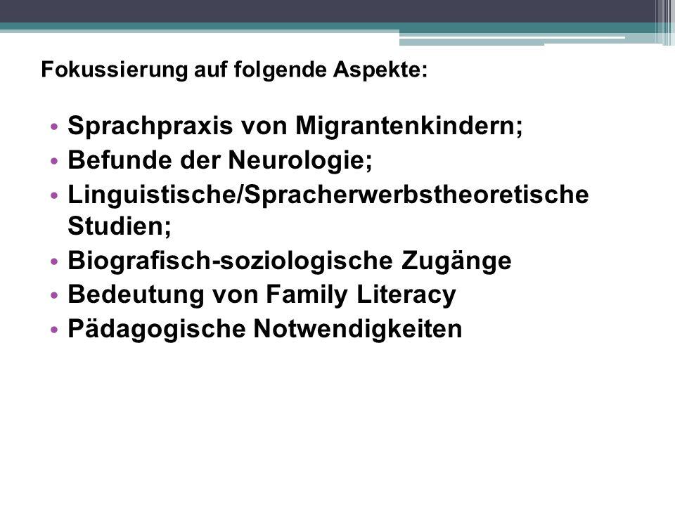 Fokussierung auf folgende Aspekte: Sprachpraxis von Migrantenkindern; Befunde der Neurologie; Linguistische/Spracherwerbstheoretische Studien; Biograf