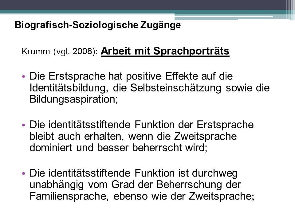 Biografisch-Soziologische Zugänge Krumm (vgl. 2008): Arbeit mit Sprachporträts Die Erstsprache hat positive Effekte auf die Identitätsbildung, die Sel