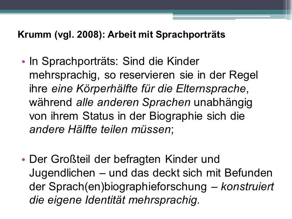 Krumm (vgl. 2008): Arbeit mit Sprachporträts In Sprachporträts: Sind die Kinder mehrsprachig, so reservieren sie in der Regel ihre eine Körperhälfte f