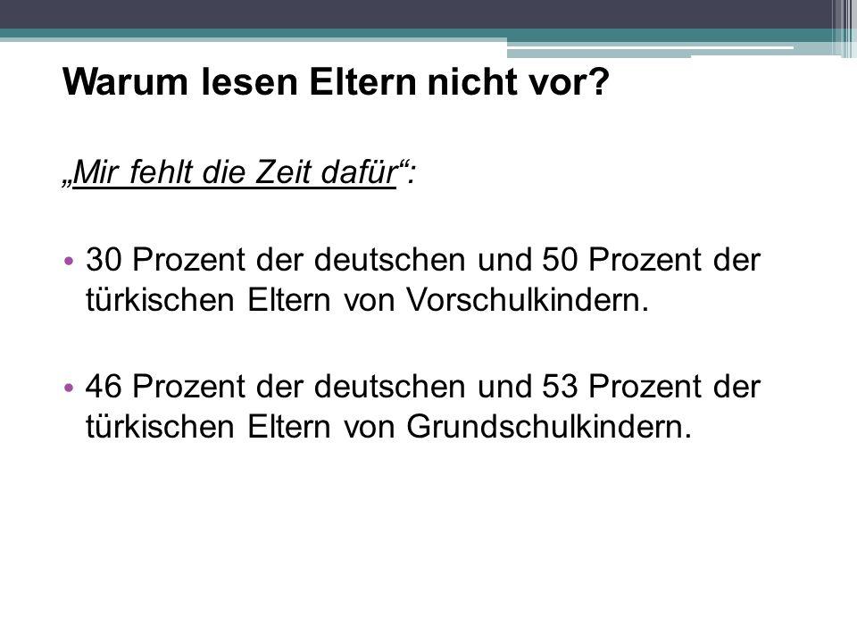 """Warum lesen Eltern nicht vor? """"Mir fehlt die Zeit dafür"""": 30 Prozent der deutschen und 50 Prozent der türkischen Eltern von Vorschulkindern. 46 Prozen"""