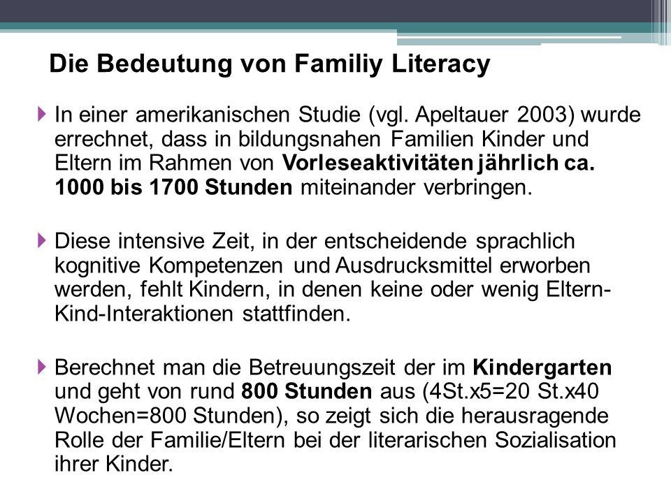 Die Bedeutung von Familiy Literacy  In einer amerikanischen Studie (vgl. Apeltauer 2003) wurde errechnet, dass in bildungsnahen Familien Kinder und E